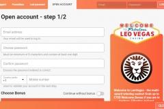 LeoVegas Casino Registration