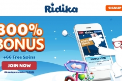 Ridika Casino Welcome Screen