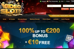 Videoslots Casino Welcome Screen