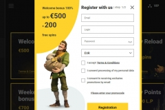 Zet Casino Registration Screen