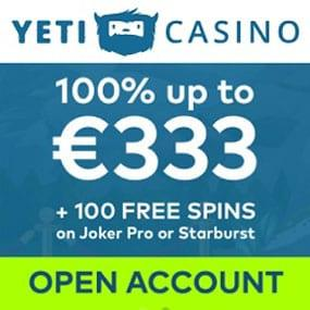 Games can be played anytime, anywhere using Yeti's fully compatible mobile casino available on smartphone and tablet devices.