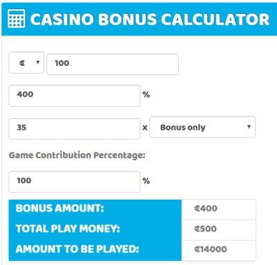 400 percent casino deposit bonus math