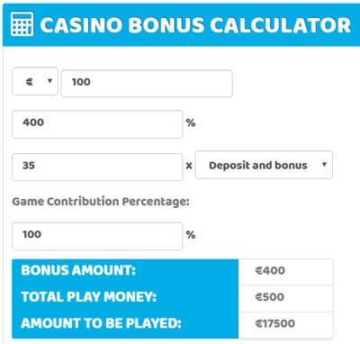 400 percent casino deposit bonus