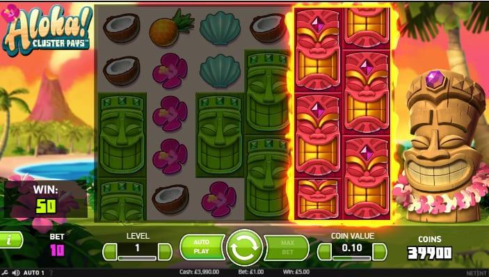 Aloha! Cluster Pays Slot Stacked Symbols