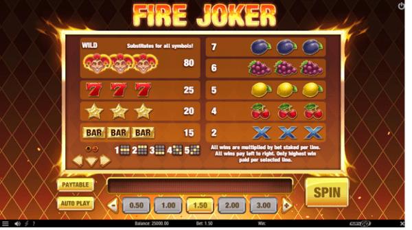 Fire Joker slot paytable