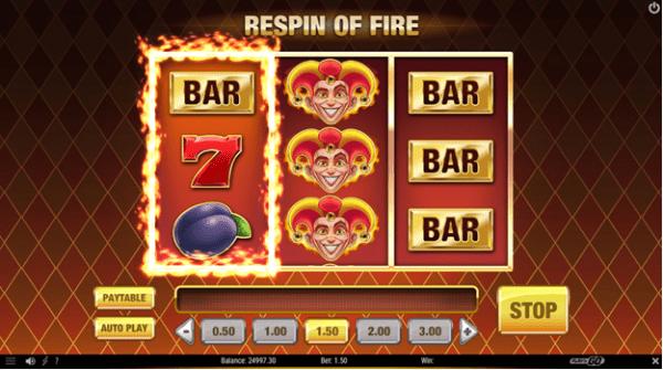 Respin of fire feature on Fire Joker slot