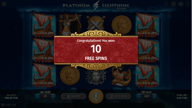 Free spins on Platinum Lightning Deluxe