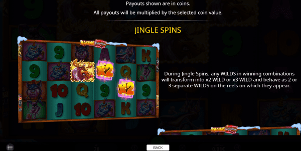 Jingle Spins feature on Raging Reindeer slot