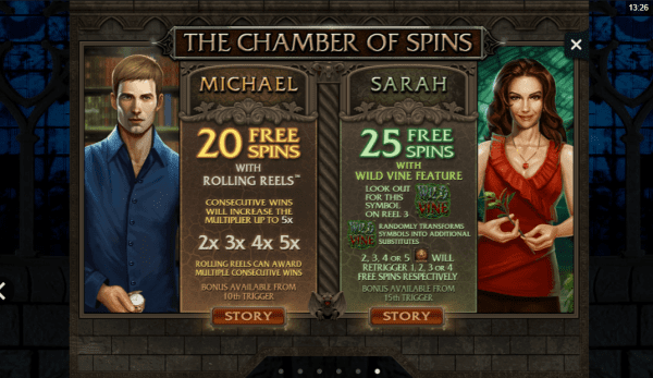 Michael and Sarah unique features Immortal Romance slot