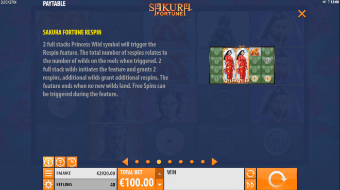 The respin feature of the Sakura Fortune slot