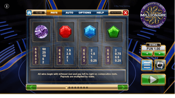 The paying symbols in Who Wants to Be a Millionaire slot