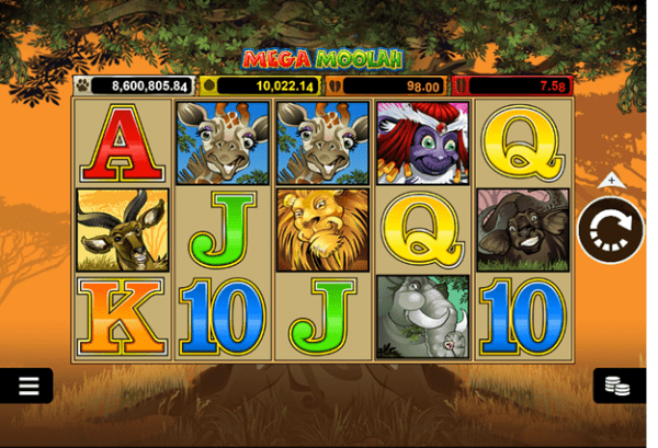 The famous Mega Moolah slot by Microgaming
