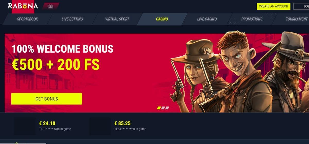 Rabona Casino Welcome Bonus
