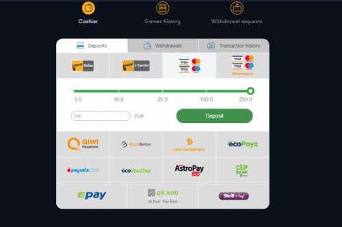 Select the deposit amount using VISA