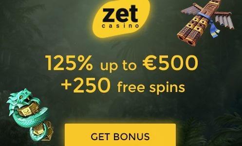 Zet Casino 125%/$500 + 250 Free Spins Bonus