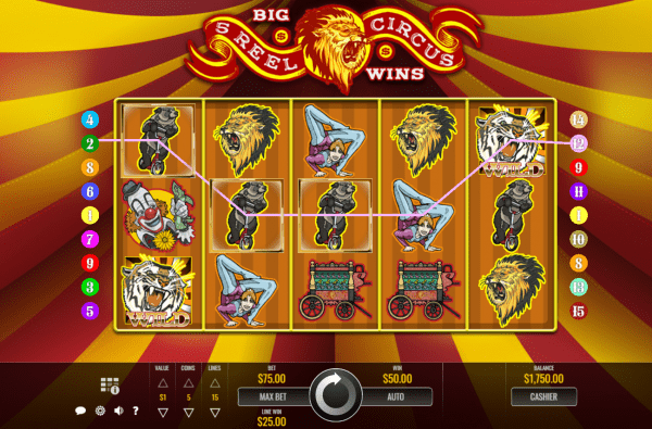 Play 5 Reel Circus at the recommended Rival Casinos
