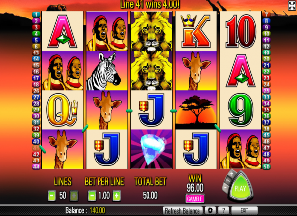 50 Lions slot is available at any Aristocrat casinos