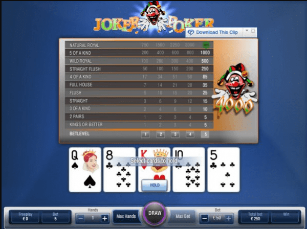 Enjoy Joker Poker - a poker variant available at our recommended Nyx Interactive Casinos