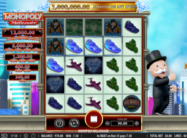 A great slot, Monopoly Millionaire can be found at any Bally casino