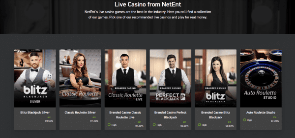 NetEnt Live Casinos offer a wide variety of live dealer sessions