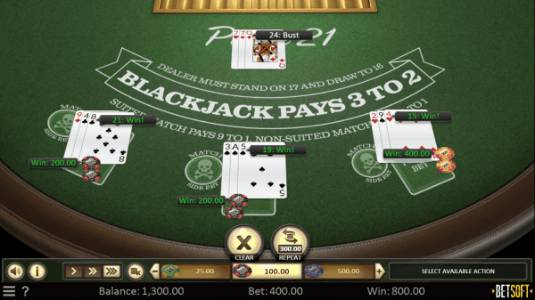 Pirate 21 is a unique blackjack variant developed by Betsoft