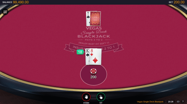 Single Deck Blackjack is a Classic 21 game by Microgaming