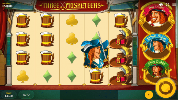 Enjoy the story of the three musketeers at any Red Tiger Casino