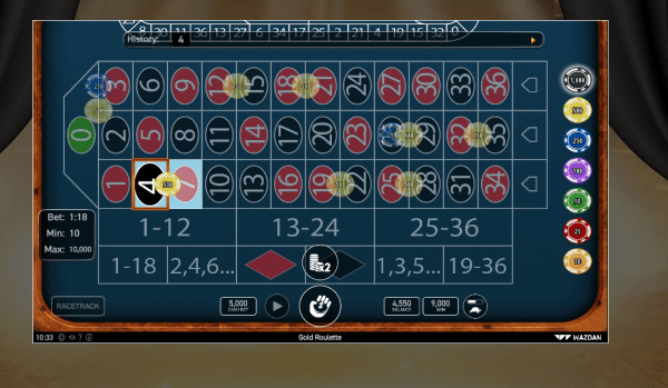 Enjoy the Gold Roulette at any of our recommended Wazdan Casinos