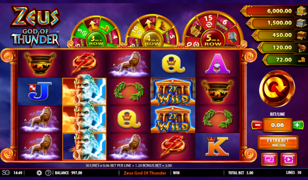 Zeus God of Thunder is a great slot to play at any Barcrest casinos