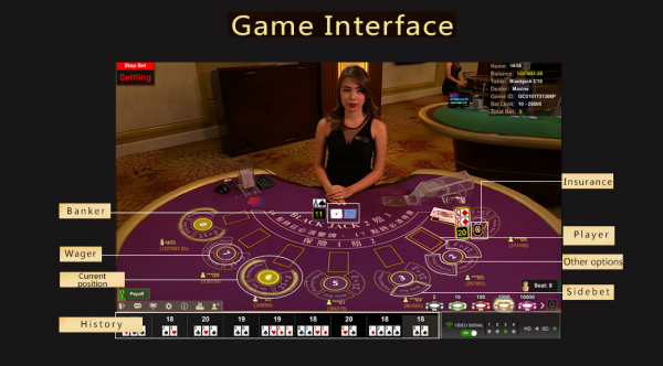 Asia Gaming's live blackjack table has a very helpful interface