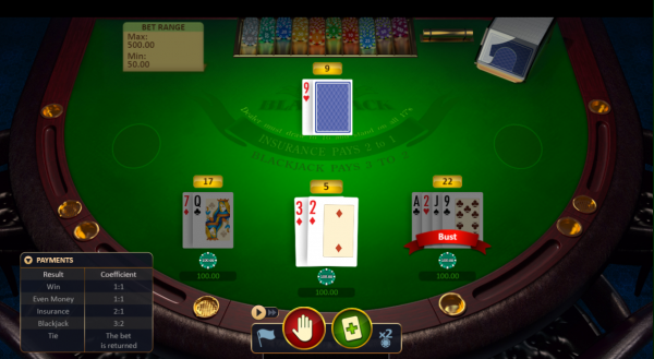 Try your luck with Blackjack Multihand developed by Playson