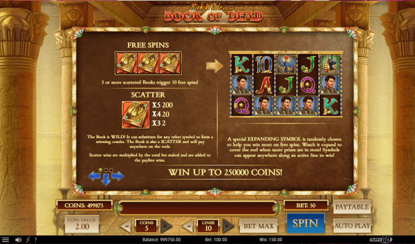 Book of Dead Free Spins: The main bonus feature for Book of Dead slots is the free spins round. This is triggered when you land three or more Book of Dead scatter symbols anywhere in sight on the reels.