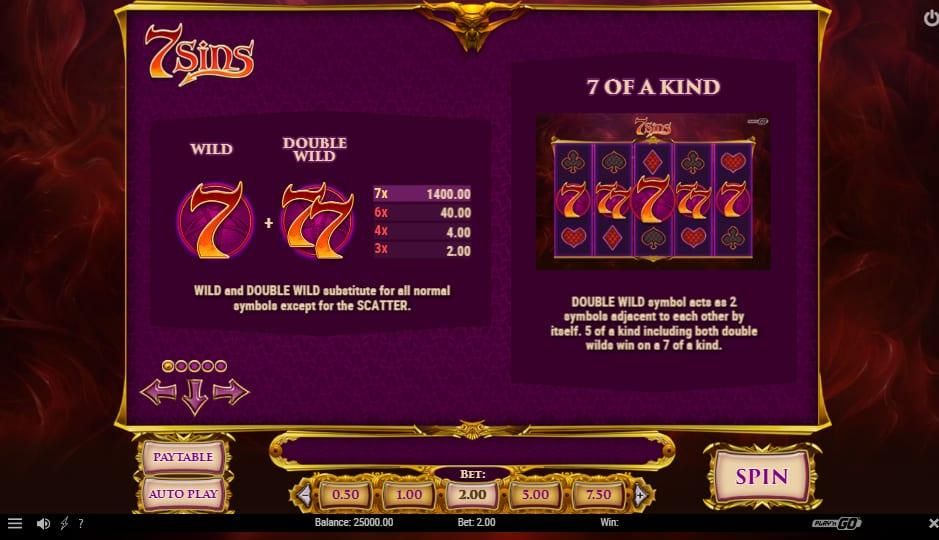 7 Sins Paytable: The basic paytable of the 7 Sins slot includes some regular symbols that are split into different categories.