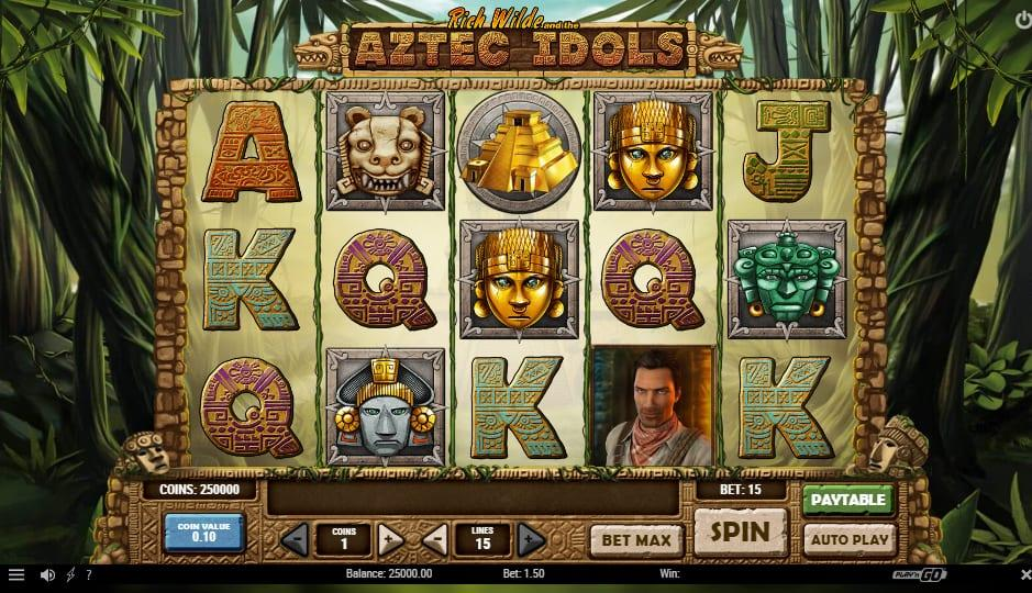 Aztec Idols Symbols: The protagonist Rich Wild appears as the most prominent symbol on the reels. His picture acts as a wild symbol that can substitute any other symbol except for the scatter and bonus ones.