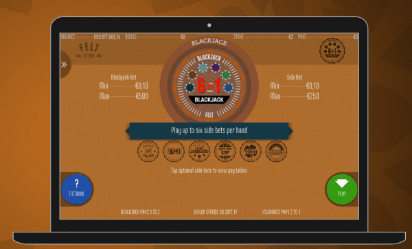 The Blackjack 6in1 variant can be played in any FeltGaming casino