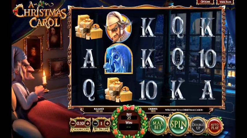 A Christmas Carol Symbols:  Like any other slot game the usual card symbols are involved for the low paying symbols are made in a nice font and the higher one fits the frame of the slot.