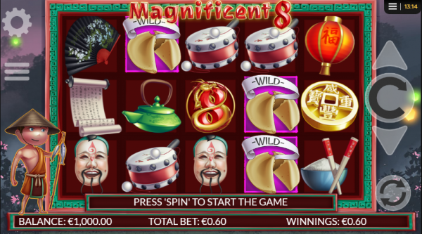 Fans of the Asian-themed slots are more than welcome to enjoy Magnificent 8 by Betdigital