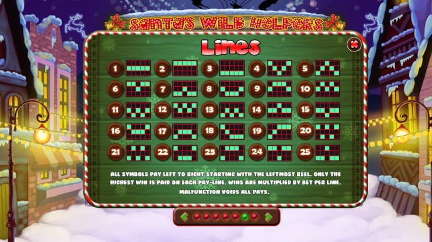 Santa Wild Helpers Paytable:  Players can receive 400 coins from five Santa wild helpers, 200 coins from five stockings, from 75 to 100 coins in case they land five bells or five Christmas trees.