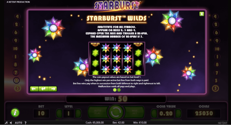 Starburst Symbols: You will win prizes by landing at least 3 of any of regular symbols.
