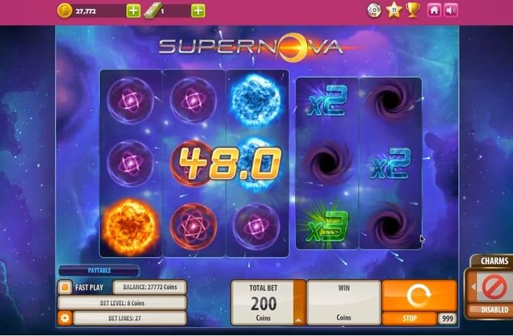 Supernova Symbols: The multiplier symbols increase your winning by x2, x3, x5, and x10.