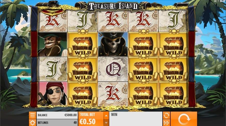 Treasure Island Symbols: In Treasure Island, there are 2 Wilds – Barrel Wild and Treasure Wild. Most commonly you will get the Treasure Wild that substitutes every symbol except the Scatter and the Barrel Wild.