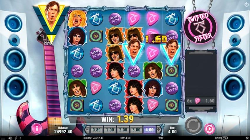 Twisted Sister Paylines: The game is a 6x6 cascading one payline gridslot based around two of the band's most iconic tracks.