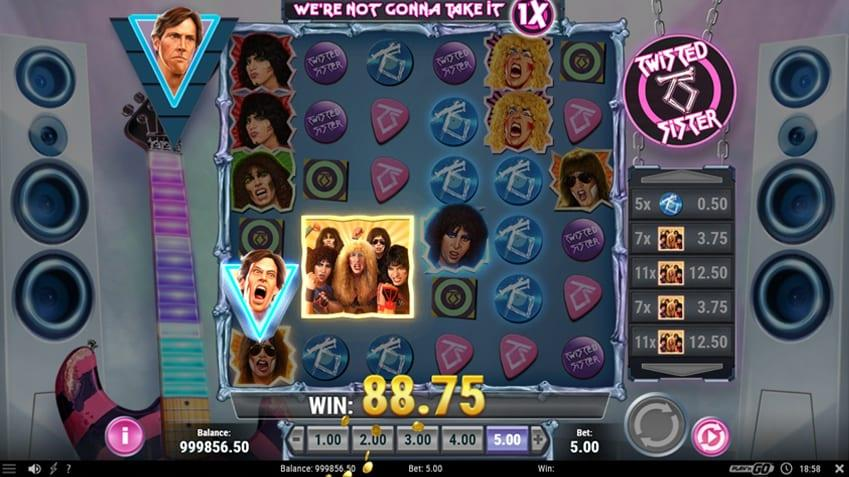 Twisted Sister Band features are also still active during your free round, giving you even more wins on the reels.