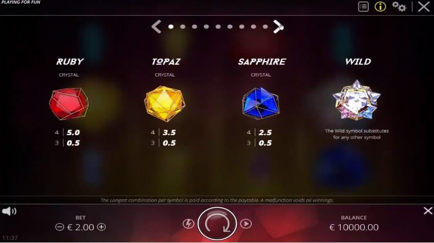 Wixx Symbols: Even though landing a combination of the alluring shards is nice, we are going to focus more on the three higher paying symbols as they are holding the key to the bigger payouts.
