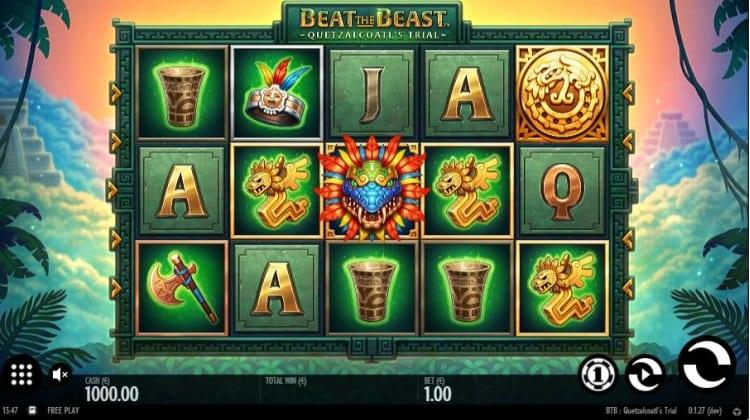 Beat The Beast: Quetzalcoatl's Trial Paytable: Symbols on the reels of Beat the Beast: Quetzalcoatl's Trial Slot are all related to the Aztec culture and are beautifully designed matching the jungle atmosphere of the game.