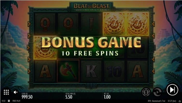 Bonus Features and Free Spins: Landing 3 or more Scatter symbols anywhere on the reels triggers Beat the Beast: Quetzalcoatl's Trial Bonus round. You are awarded 10 Free Spins on the reels on a 5 level game mode.