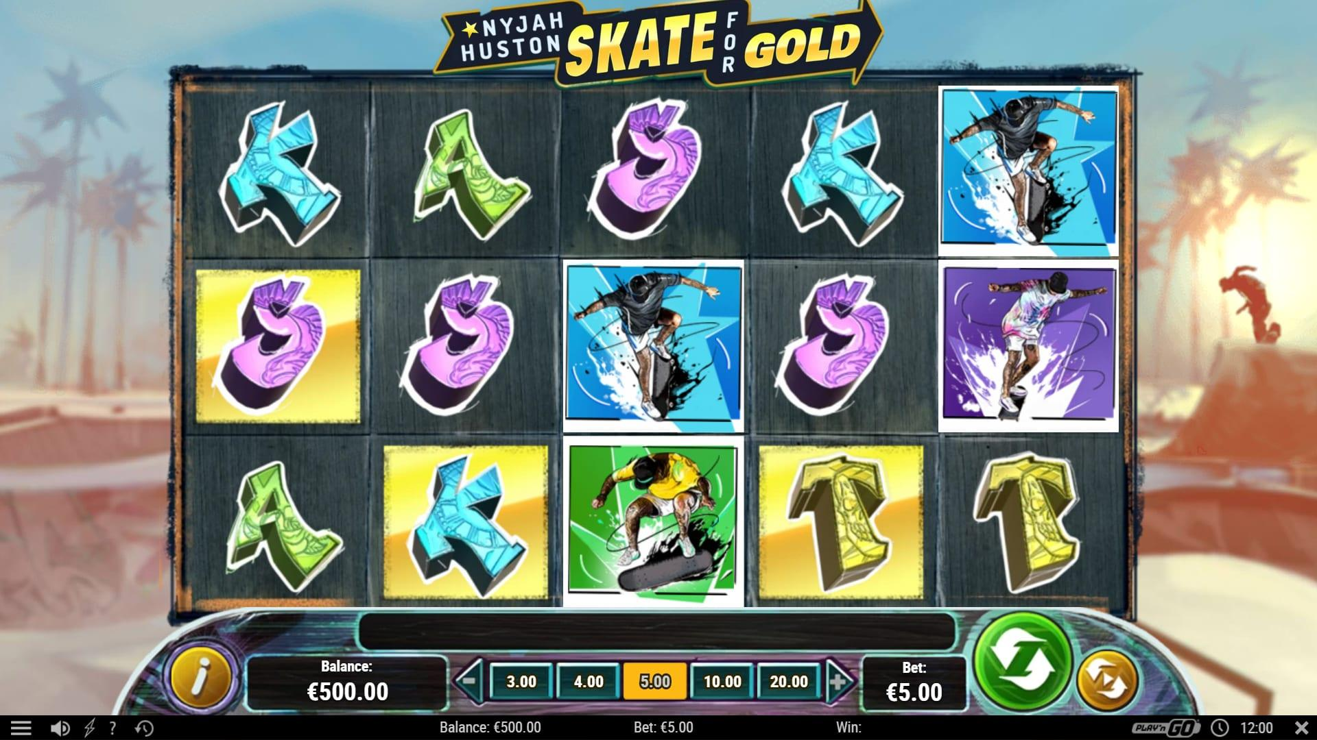 Nyjah Huston Skate for Gold Symbols: Some of the letters in the game have a golden background.