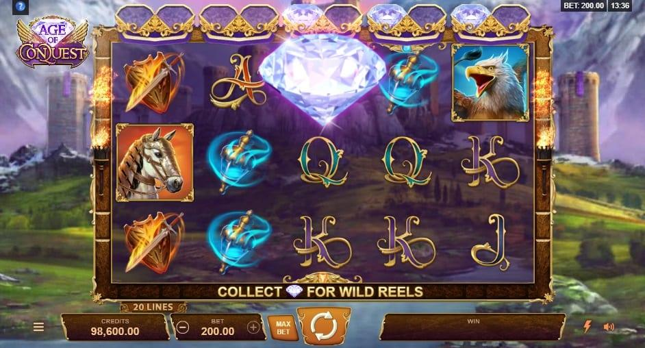 Age of Conquest Symbols: Every time you collect two diamond symbols on a reel, you are awarded a wild symbol on that reel.