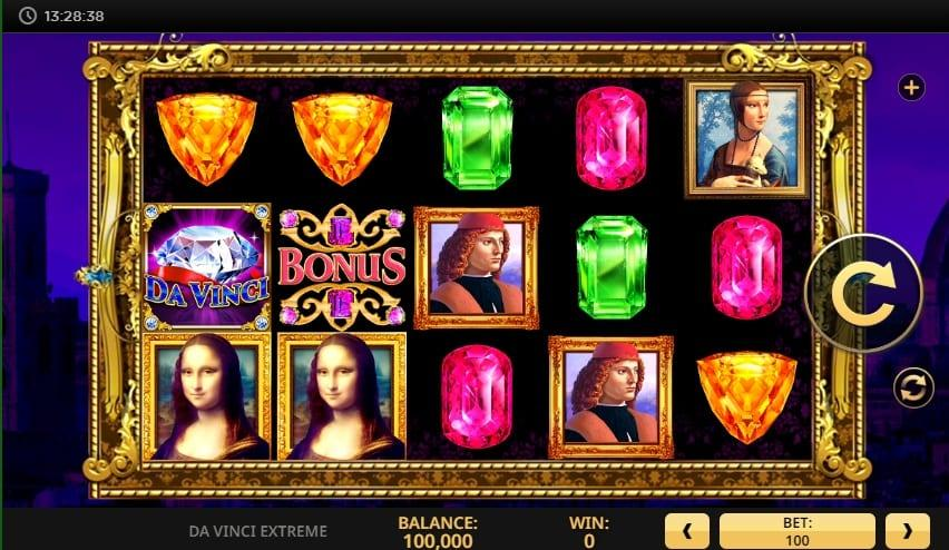 Bonus Features and Free Spins: The special feature is the Da Vinci Extreme free spins round which has 6 free games available and can be triggered by landing 3 scatter symbols.