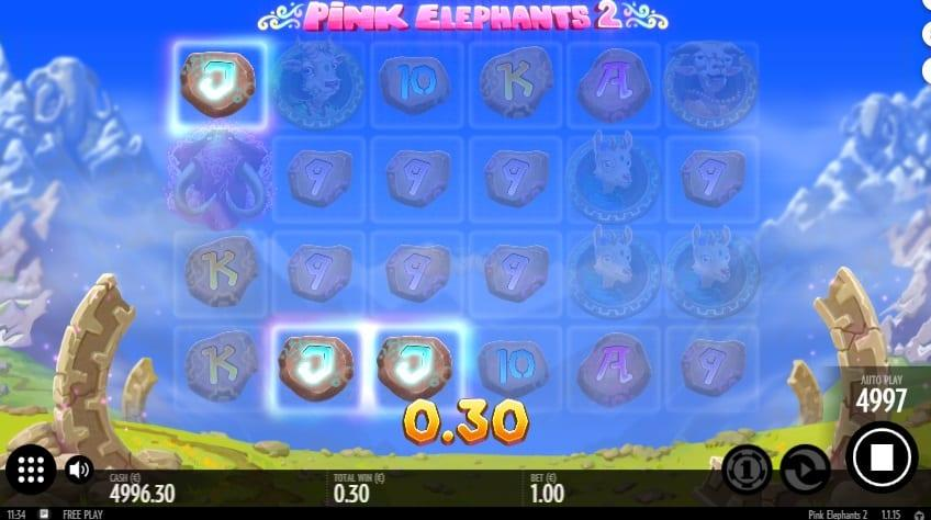 Pink Elephants Explained:  The Scatter is represented by a shining peanut in a green cube. If you get 3 or more such symbols, you will trigger the bonus game where you will take benefit of Free Spins.